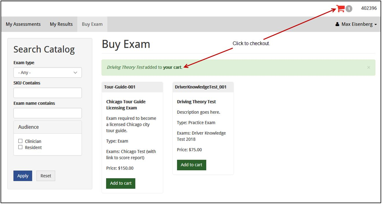 Screenshot showing an exam with the Add to cart button