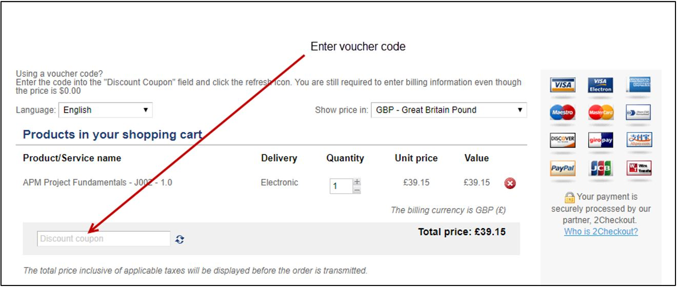 Screenshot showing where to enter a voucher code