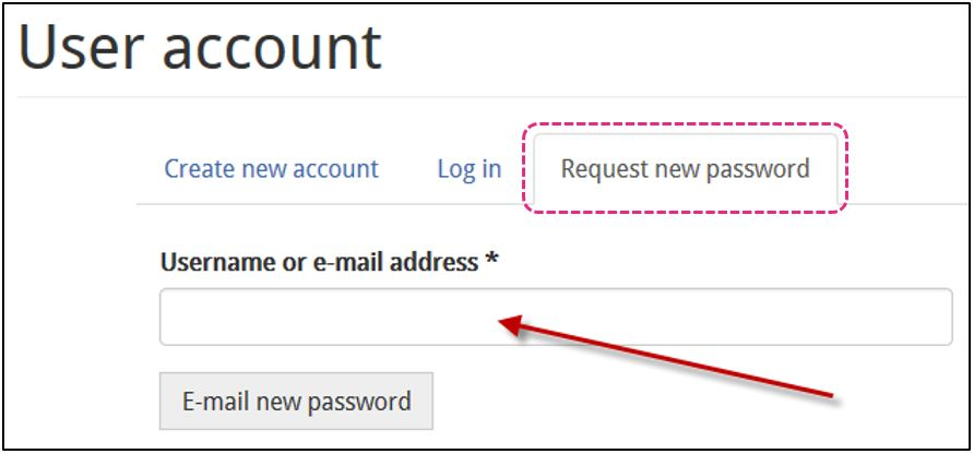 Screenshot of Request new password screen